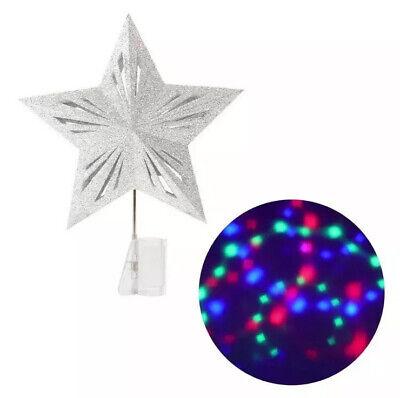 Wondershop STAR Tree Topper Christmas LED Lit Projection Lights Silver Glitter