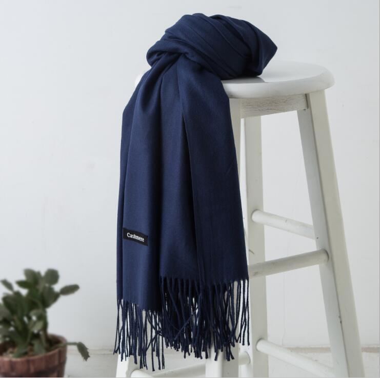 Womens Oversized Cashmere Wool Solid Pashmina Scarf Wraps Warm Blanket Scarves