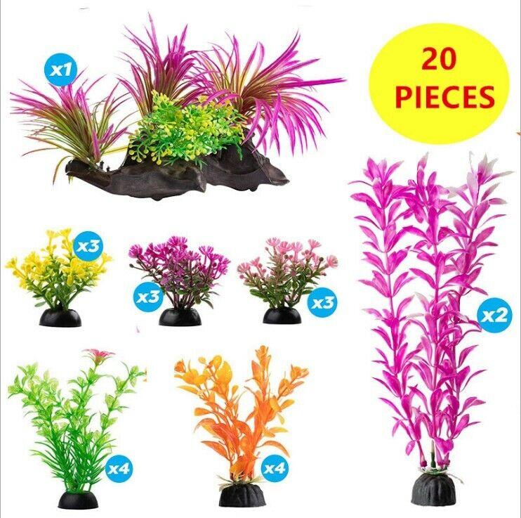 20 Pack Color Realistic Decorative Aquarium Fish Tank Ornament Plastic Plants US