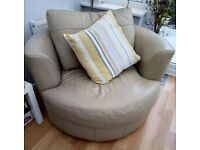 Leather corner chair stone/natural colour