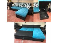 BARGAIN! CORNER SOFA BED! FABRIC! FAUX LEATHER! BIG STORAGE!