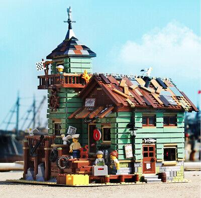 Fisherman's Cabin Seaside Old Fishing Store Building Blocks Bricks Model Figure