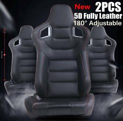 Universal 2X Sport 3D Full Wrap Black Leather Racing Seats Reclinable Bucket Car