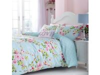 Catherine Lansfield Canterbury Floral Duvet Quilt Cover Bedding Set King Size -NEW