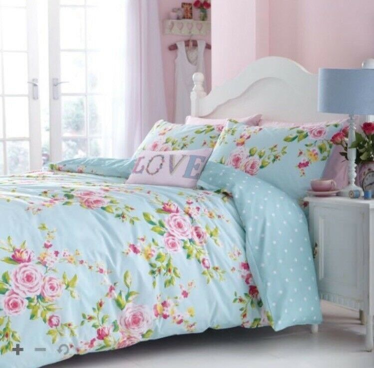 Catherine Lansfield Canterbury Floral Duvet Quilt Cover Bedding Set King Size NEW