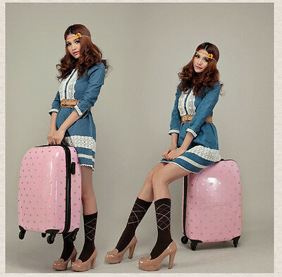 Fashion Girl Luggage Suitcase Trolley Bag Rolling Wheel With Polka Dot Pink 20