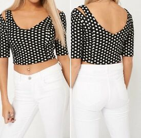 Branded Cold Shoulder Crop Top
