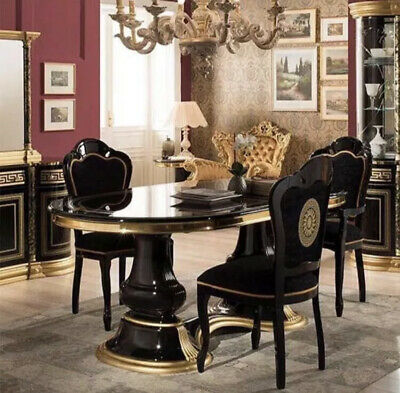 Medusa Italian High Gloss Dining Table With 6 Chairs In Black & Gold
