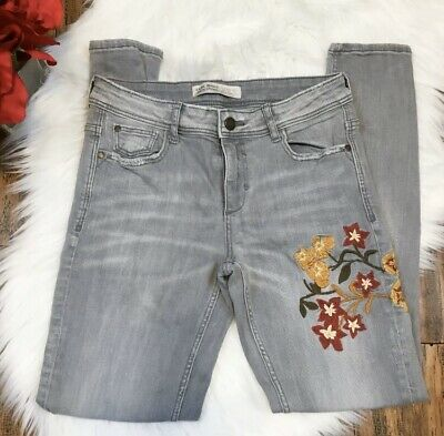 Zara Basic Z1975 Denim Women's Gray Embroidered Skinny Slim Pants Jeans Size 6
