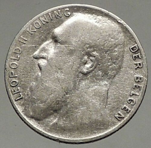 1901 BELGIUM - Original Antique Silver 50 Centimes Coin - King LEOPOLD II i56944