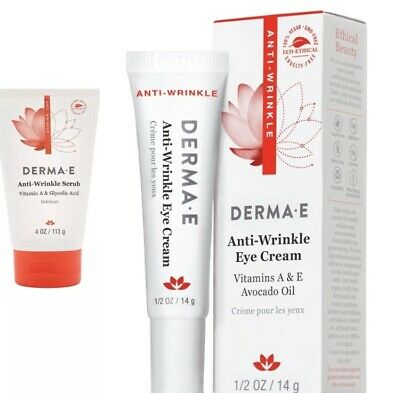 Derma E Anti-Wrinkle Scrub Vit A Glycolic Acid 4.0oz And Anti-Wrinkle Eye Cream ()