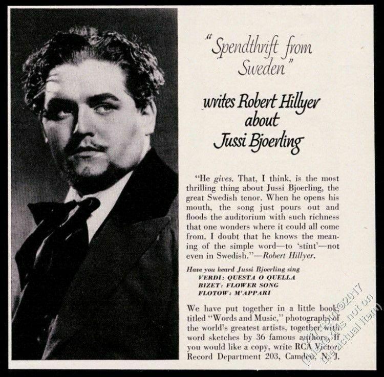 1950 Jussi Bjorling Bjoerling photo RCA Victor Records vintage print ad