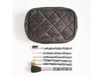 Black Quilted Make-Up Bag With 6 Zebra Print Brushes