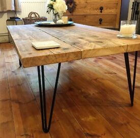 Reclaimed Timber Scaffold Board Coffee Table on Black Retro Hairpin Legs