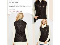 Ladies Moncler gilet jacket not mk polo mk versace