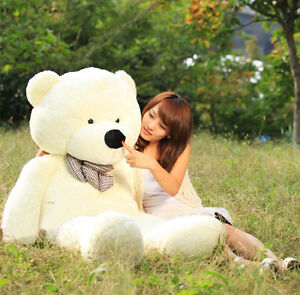 2014-Beige-Stuffed-Giant-95cm-Plush-Huge-Teddy-Bear-Soft-100-Cotton-Toy-YNM05