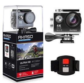 AKASO 4K camera + 2 battery + accessories HALF PRICE