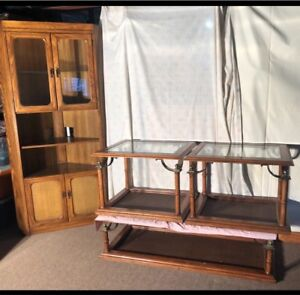 Solid Wood Coffee Tables and Corner Hutch Furniture Set