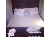 grey diamante sleigh bed