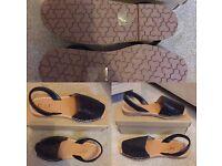 Black glitter open toe sandals