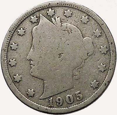 1905 LIBERTY HEAD NICKEL 5 CENT UNITED STATES OF AMERICA USA ANTIQUE COIN I43546