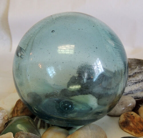 """Vintage 13"""" In Circumference Japanese GLASS FISHING FLOAT. Sky Blue & Mark (#82)"""