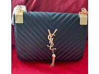 Womens YSL Designer Leather Inspired Handbag Shoulder Bag Black Gold BNWT  MK CC GG 2983e765c88e4