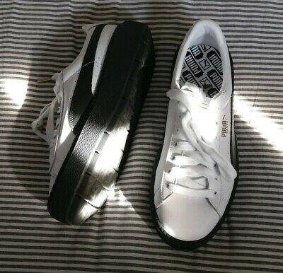 UK 6.5 Puma trace basket platform trainers, black white leather