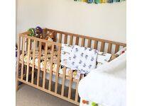 Zara Wooden cot with organic little green sheep mattress
