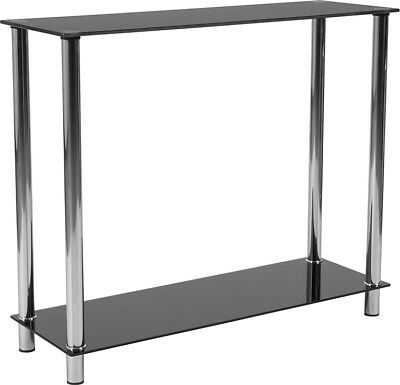 Contemporary Design Black Glass Console Table with Shelves & Stainless Steel Black Glass Console Table