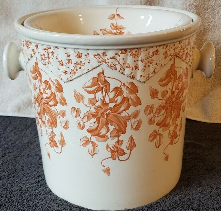 Antique Transferware Chamber Pot With Lid.  Beautiful Detailing