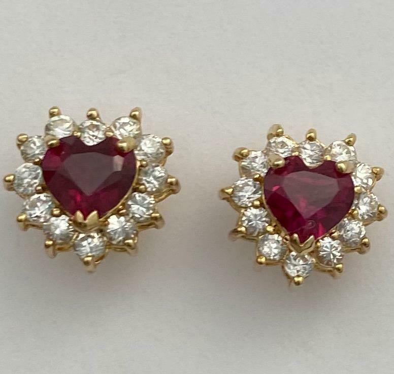 Vintage Sterling Silver/Gold Crystal & Red CZ Small Heart Earrings - Posts