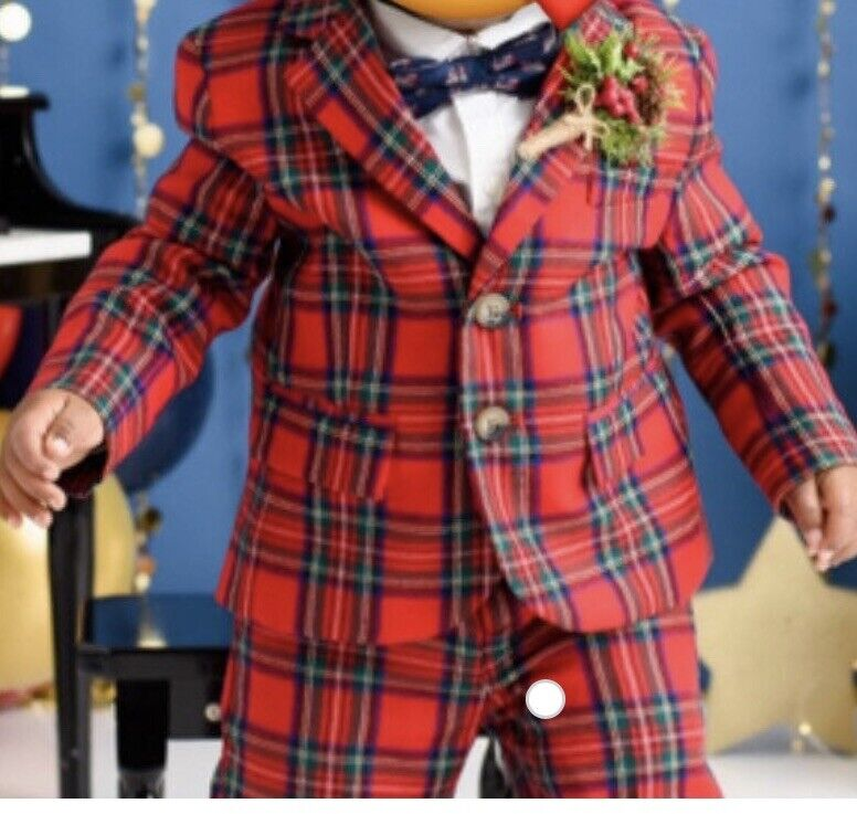 janie and jack toddler 2t christmas suit jacket holiday boys