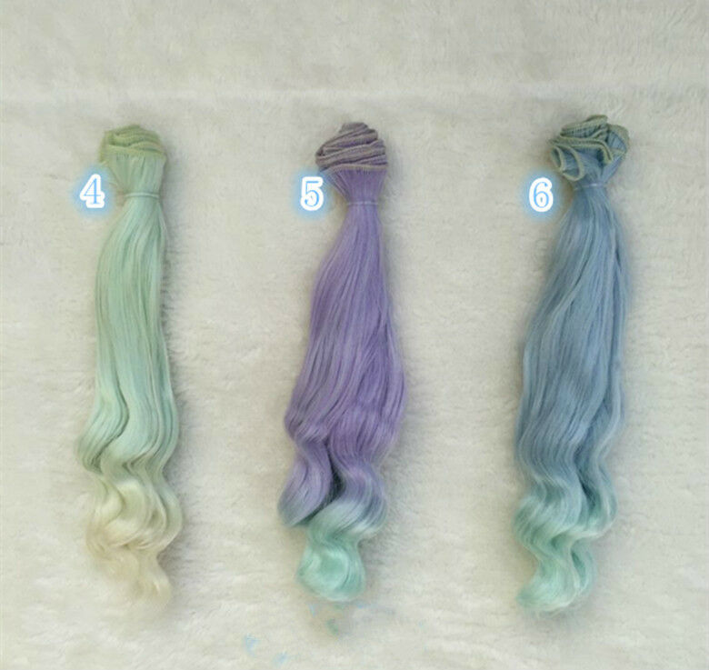 10/'/' Ombre Curly Weave Doll Synthetic DIY Hair Extension For Dolls 25cm for Kids