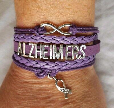 Alzheimer's Awareness Adjustable Leather Wrap Bracelet Infinity Hope Ribbon  (Alzheimers Awareness)
