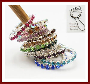 12PcsX Elastic Crystal Toe Ring Mixed Color Wholesale Lot Body Jewelry Pack