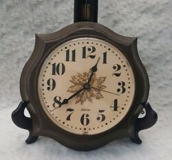 Vintage Sunbeam Electric Wall Clock Leaves on Face Simulated Wood - Works!