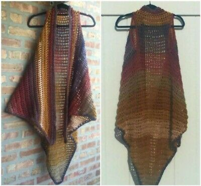 - Long Vest Shawl Crochet Easy Printed Pattern Boho Hippie Retro Groovy Style