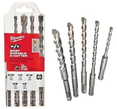 1 Brand New Milwaukee 48-20-7490 5 Pc Sds Hammer Drill Bit Set Case