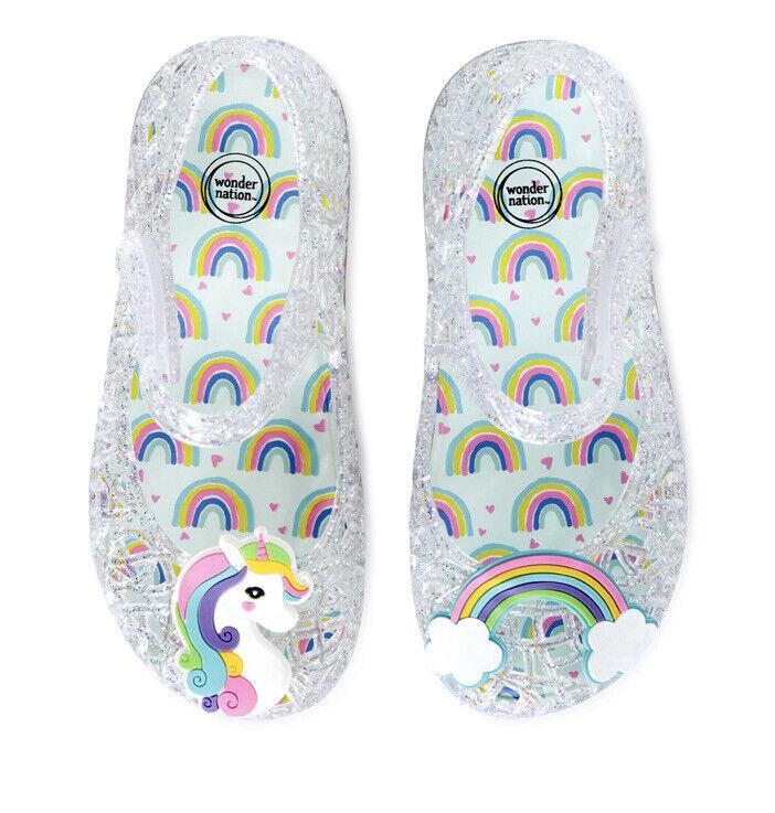 Wonder Nation Unicorn & RainbowCasual Jelly Mary Jane Toddler Girls Sz 9