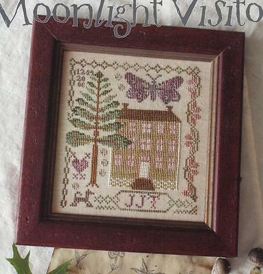 MOONLIGHT VISITOR BLACKBIRD DESIGNS CROSS STITCH SAMPLER CHART