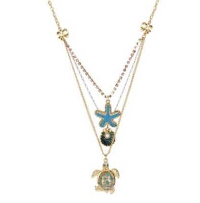 Betsey Johnson Gold Plated Turtle Three Strand Necklace