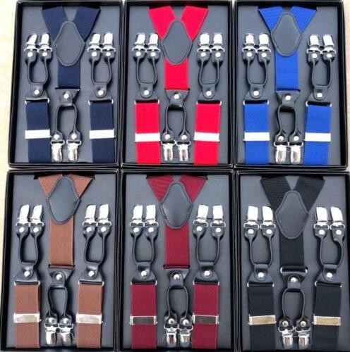 Gentleman's Classic Wall Street 6 Clips Leather Suspenders Adjustable Braces