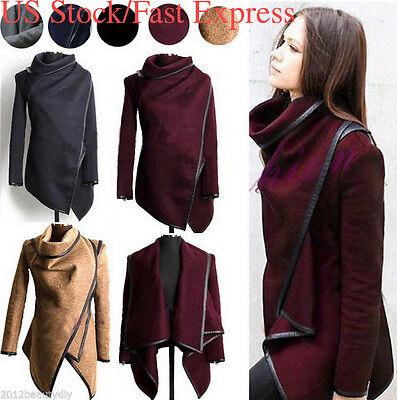 Us Women Slim Winter Warm Trench Coat Long Wool Jacket Outwear Parka Cardigans