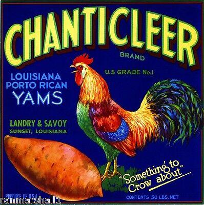 Sunset Louisiana Chanticleer Rooster  1 Sweet Potato Yams Yam Crate Label Print
