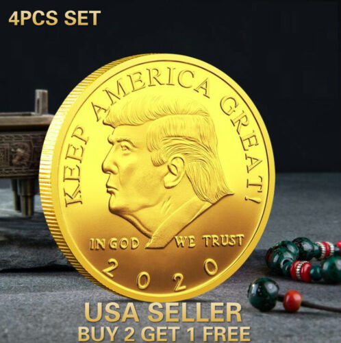 4 Pc Set 2020 President Donald Trump Gold Plated EAGLE Commemorative Coin