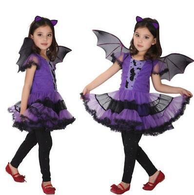 Mädchen Lila Fledermaus Hexe Prinzessin Kostüm Halloween Party - Halloween Prinzessin Kostüm