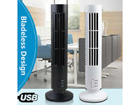 Brand New Mini Tower Fan USB Power Cable Bladeless 2 Speed Air Cooler Home Office Portable
