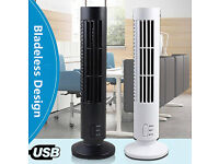 New Mini Tower Fan USB Power Cable Bladeless 2 Speed Air Cooler Home Office Portable, Black/White