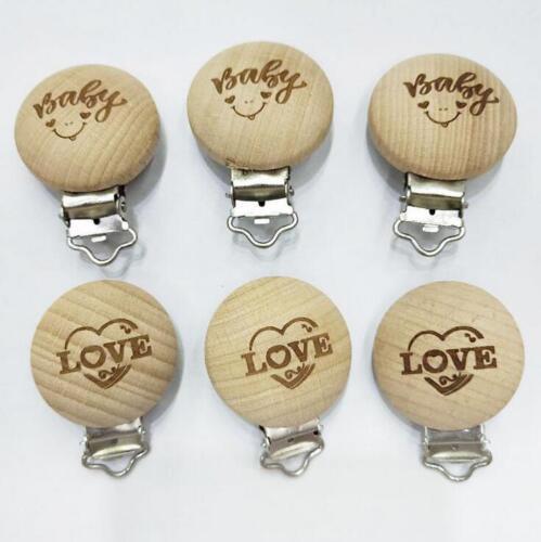 2X Natürliche Holz Keine Malen Schnuller Clips Schriftzug Baby Spielzeug 35mm